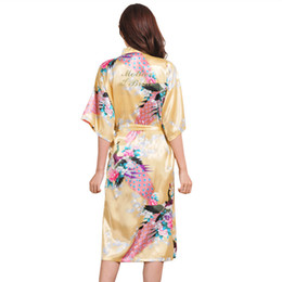 $enCountryForm.capitalKeyWord Australia - Mother of The Bride Bronzed Bride's Morning Gown Fashion Printed Long-style Half Sleeve Wedding Tram Bride Dressing Gown