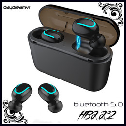 bluetooth headset charge Canada - HBQ Q32 TWS Ture Wireless headphones Bluetooth 5.0 Headset With Mic Mini Twins Gaming Earphone Waterproof Earbud with Charging Box cellphone