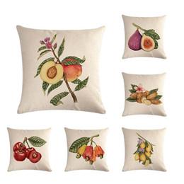 "Coffee Housing Australia - Fruit Series Pillowcases Cherry Fig Print Linen Pillow Case Square 18"" Throw Cushion Cover Coffee House Home Sofa Waist Car Back Party Decor"