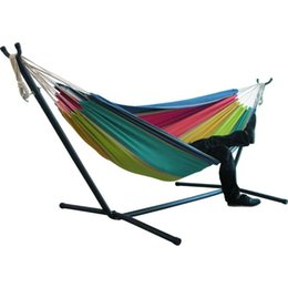 camping swing Canada - Two-person Hammocks Chair Hiking Camping Striped Hammock Swing Chair Outdoor Indoor Hanging Canvas Tent Swing Chairs For Garden