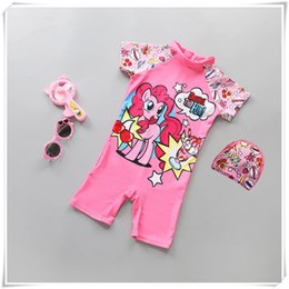 Horse Suit NZ - Outdoors Swimming Baby Kids Girl Cartoon Lovely Pink Horse Summer Swimming Suit with Hat Fine workmanship