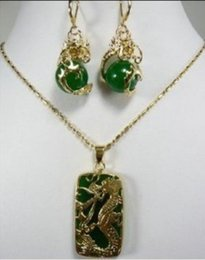 $enCountryForm.capitalKeyWord Australia - jewelry hot sell new - Fast shippingCharming Green jade Dragon Pendant necklace earring