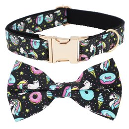 Wholesale Black Unicorn Dog Collar and Leash Set With Bow Tie For Big and Small Dog Cotton Fabric Collar Metal Buckle
