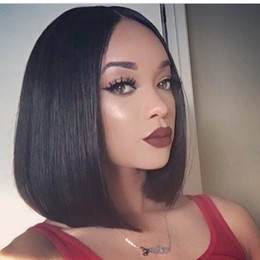 hair black bob silky Canada - Short Bob silky straight Full Lace Human Hair Wigs Lace Front Wigs 130% density Brazilian Virgin Hair For Black Women with baby hair