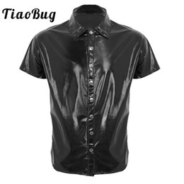 $enCountryForm.capitalKeyWord Australia - TiaoBug Men Black Patent Leather Shirt Tops Short Sleeve Press Button Casual Shirt Nightclub Party Stage Male Sexy Costume Tops