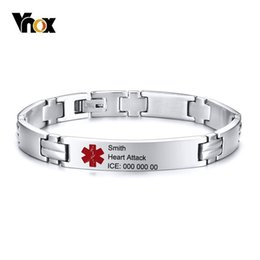 Cross Cuffs stainless steel online shopping - Vnox Free Engraving Medical Cross ID Bracelets for Men Women Cuff Bangle Stainless Steel Link Chain Diabetes Epilepsy