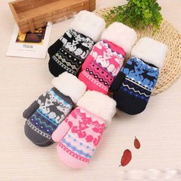 $enCountryForm.capitalKeyWord NZ - Children Girls Boys Winter Thicken Warm Gloves Kids Cartoon Deer Snowflake Pattern Knitted Fingers Wool Mittens Outdoor Gloves For 5-15T