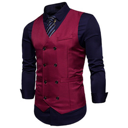 $enCountryForm.capitalKeyWord UK - Men Formal Business Suit Long Sleeve Slim Fit Double Breasted Vest Waistcoat Party Banquet Evening Blazer Tops For 4 Color