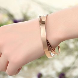 $enCountryForm.capitalKeyWord NZ - Top Quality Rose Gold color Double level Diameter 6.0cm Women Stainless Bangle Cheap Brand Bangle Bracelet Jewelry C19010401