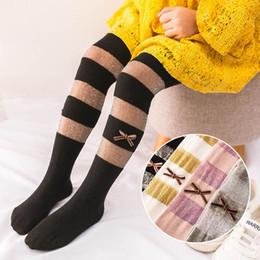 Gray Leggings Wholesale Australia - 2019 New Summer glisten Children Pantyhose bows stripe Girls Leggings lace Kids Leggings Girls Tights kids designer clothes girls A4841