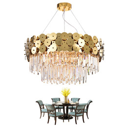 Wired Crystal Australia - Luxury Modern Chandelier Lighting For Living Room Gold Suspension Wire LED Cristal Lustre Dining Room Crystals Lamps 90-265V