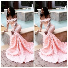 $enCountryForm.capitalKeyWord NZ - Sexy Black Girls Mermaid Prom Dresses Long Sleeve 2019 Light Pink Bateau Neck Top Lace Appliqued African 3D Floral Evening Gowns Party Wear