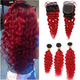 $enCountryForm.capitalKeyWord Australia - Red Ombre Deep Wave Brazilian Hair Weaves with Closure Deep Wavy #1B 613 Blonde Ombre Human Hair Bundles with 4x4 Lace Front Closure