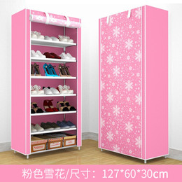ShoeS cabinetS online shopping - Metal Dustproof Curtain Shoe Rack Simple And Easy Install Cabinet Multi Storey Function Shelves Household Assemble Tangible Benefits qjC1
