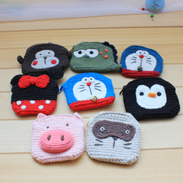 Small coin poucheS online shopping - Hand knit coin purse change pouch Mini cartoon anime wool coin bag student cute small pouch promotion gift