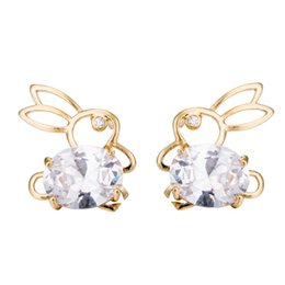 $enCountryForm.capitalKeyWord Australia - Hollow Out Kawaii Rabbit Ear Zircon Women Ear Stud Earrings Piercing Studs for Women Wedding Engagement Party Gift
