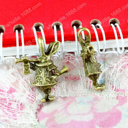 Rabbit Alice Alloy Pendant Australia - 30pcs 27.6*23*7.5MM Antique bronze tibetan alloy Alice rabbit charms for bracelet vintage metal pendant earring handmade DIY jewelry making