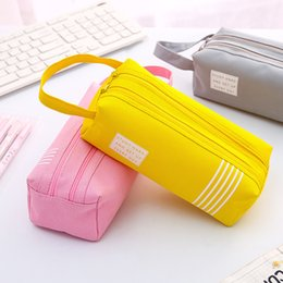plastic pencil cases NZ - Large Double Zipper Pencil Case Cute Clear PencilCase Kawaii Bag School&Office Stationery Supplies for Girls Canvas Pencil Box
