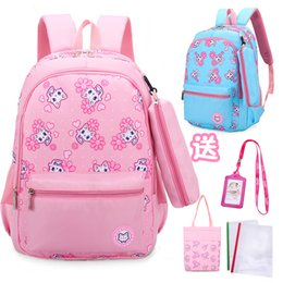 $enCountryForm.capitalKeyWord Canada - Student School Bag Suit Back To School Girl Cat Floral Printed Zipper Backpack Pen Bag Tire Handbag Tag Book Cover Four-Color Six-Piece Set