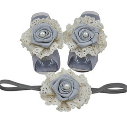 infant feet accessories UK - Rose flower newborn foot baby headbands 3pcs set girls designer headband infant designer headbands baby accessories lace kids headband