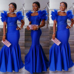 Wholesale classic portrait dress for sale – plus size Amazing Royal Blue Mermaid Evening Dresses African Girls Ruffle Cap Sleeve Beads Ruched Long Party Celebrity Gowns Prom Dress Wear