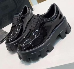 real rubber Australia - Hot Sale-2019 spring fall womens Ladies black SHINY PATENT REAL Leather FLAT platform Lug rubber sole LACE UP Round toe SHORT BOOTIES BOOTS