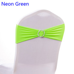 $enCountryForm.capitalKeyWord Australia - Neon Green colour on sale chair sash with Round buckles for chair covers spandex band lycra sash bow tie wedding decoration