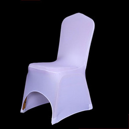 $enCountryForm.capitalKeyWord Australia - 100PCS Hotel Seat Chair Cover Stretch Elastic Universal White Spandex Wedding Chair Cover for Weddings Party Banquet Hotel Lycra Chair cover
