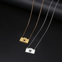 camera pendants wholesale Australia - Jewelry Genuine Sumptuous Stainless Steel Necklace For Women Lover's Gold And Silver Color Camera Pendant Maxi Necklace Choker Bridal Gift