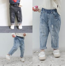 $enCountryForm.capitalKeyWord Australia - Fashion kids plaid casual jeans girls hole loose denim pants children double pocket elastic trouser 2019 fall new boy clothes F9608