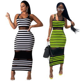 Sheer Maxi Summer Dresses Australia - Summer Women Stripe Maxi Bodycon Party Dresses Sheer Mesh Striped Printed Sleeveless Scoop Neck Long Club Dresses White Green