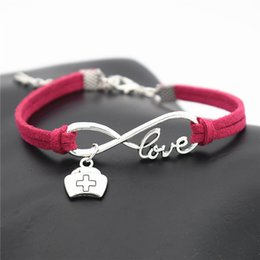 $enCountryForm.capitalKeyWord Australia - High Quality Infinity Love Medicine Box Cross First-aid Kit Case Nurse Cap Rose Red Leather Suede Bracelet Bangles Fashion Women Men Jewelry