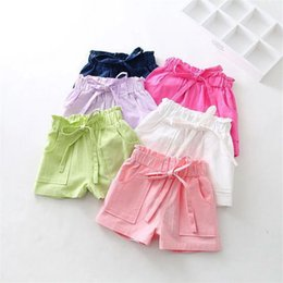 hot girls clothing Canada - Baby girls beach shorts Candy Color children short pants cotton linen kids hot shorts summer girls clothes kids clothing 6 colors