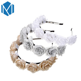 $enCountryForm.capitalKeyWord UK - Vintage Women Silk Yarn Flower Hair band Fashion Floral Garland Sweet Rose Tiara Hair Hoop Girls Hair Accessories Headbands Mesh
