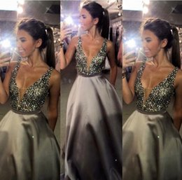 New fashioN dress teeN online shopping - 2019 New Fashion Deep V neck Long Satin Prom Dresses Sexy For Teens Special Occasion Dresses Mopping Long Section Evening Dresses