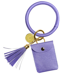 tassel keychain for NZ - Hot Sale Wristlet Keychain Bracelet with Tassel Multi Colors Bangle Round Key Ring Leather Key Holder Charm Leather Bracelet Women for Girls