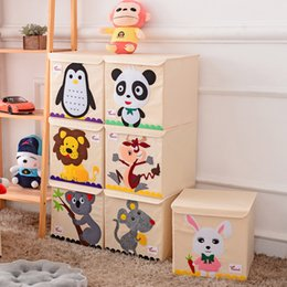 White Toy Organizer Australia - 3D Embroidery cartoon Children toys Organizer Storage Box can be washed foldable Clothes storage bins Oxford Cloth With lid