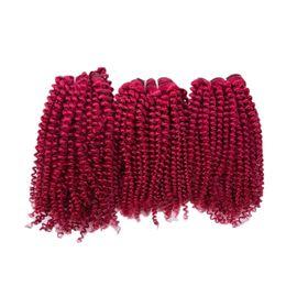 $enCountryForm.capitalKeyWord Australia - Kinky Curly Wine Red Hair Bundles Cheap Burgundy Hair Weaves 3Pcs lot Afro Curly 99J Virgin Human Hair Extensions