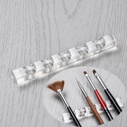 paint brush storage UK - Cheap Nail Brushes 1pc 5 Grids Acrylic Clear Nail Brush Rack Shelf Painting Pen Rest Holder Stand Display Carrier Storage Manicure Tool