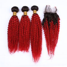 Discount brazilian kinky curly hair weave ombre - Ombre Color Kinky Curly Hair Bundles With Free Part Lace Closure 1B Red Hair Extensions With Kinky Curly Closure