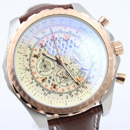 Skeleton watcheS leather Strap online shopping - Outdoor Chronomat White Skeleton Dial Mens Watch Quartz Chronograph Great Precision Mens Watches With Brown Leather Strap
