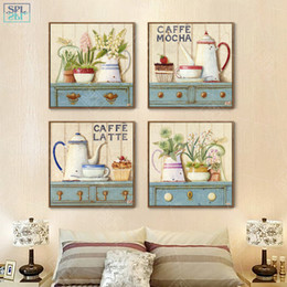 AbstrAct pAinting Art for kitchen online shopping - SPLSPL Nordic Girls Room Decor Hand Drawn Decorative Picture Coffee Latte Watercolor Flower Wall Art Canvas Painting for Kitchen