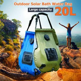 solar showers 2019 - 20L blue and green two-color 5 gallon 48 portable shower folding outdoor camping heating tube bag solar water heater dis