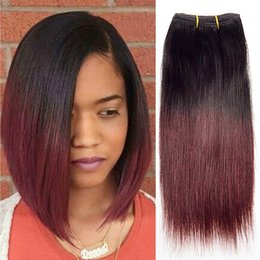 Burgundy Wet Wavy Hair Australia - Malaysian Ombre Weave 4bundles Short Bob Straight Wave Wet and Wavy Burgundy Human Hair Two Tone Real Hair Extension