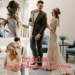 Informal garden weddIng dresses online shopping - Bohemian Appliqued Lace Beach Wedding Dresses Mermaid Sheer Long Sleeve Informal Garden Bridal Gowns Buttons Back Country Bridal Dress