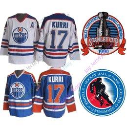 8d783176f 17 Jari Kurri Jersey 1990 Stanley Cup Ice Hockey 2001 Hall Of Fame Patch Edmonton  Oilers Jerseys CCM Home Away