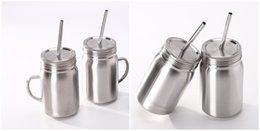 Großhandel 23oz Einmachglas Edelstahl Einmachglas einwandig mit Deckel und Strohhalm Safe Drinking Tumbler Cup für Kinder