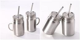 Опт 23oz масон стакан из нержавеющей стали каменщик банку одностеночный с крышкой и соломой безопасной питьевой стаканчик для детей