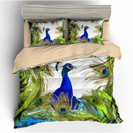 $enCountryForm.capitalKeyWord Australia - Peacock Queen Size Bedding Set 3D Printed Duvet Cover King Colorful Beautiful Home Dec Double Single Bed Set With Pillowcase 3pcs