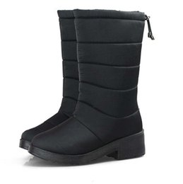 lady snow boots mid calf Australia - Winter Women Boots Female Down Waterproof Snow Boots Tassel Mid-Calf Ladies Shoes Woman Warm Fur Botas Mujer Elastic Band No. XDX-003